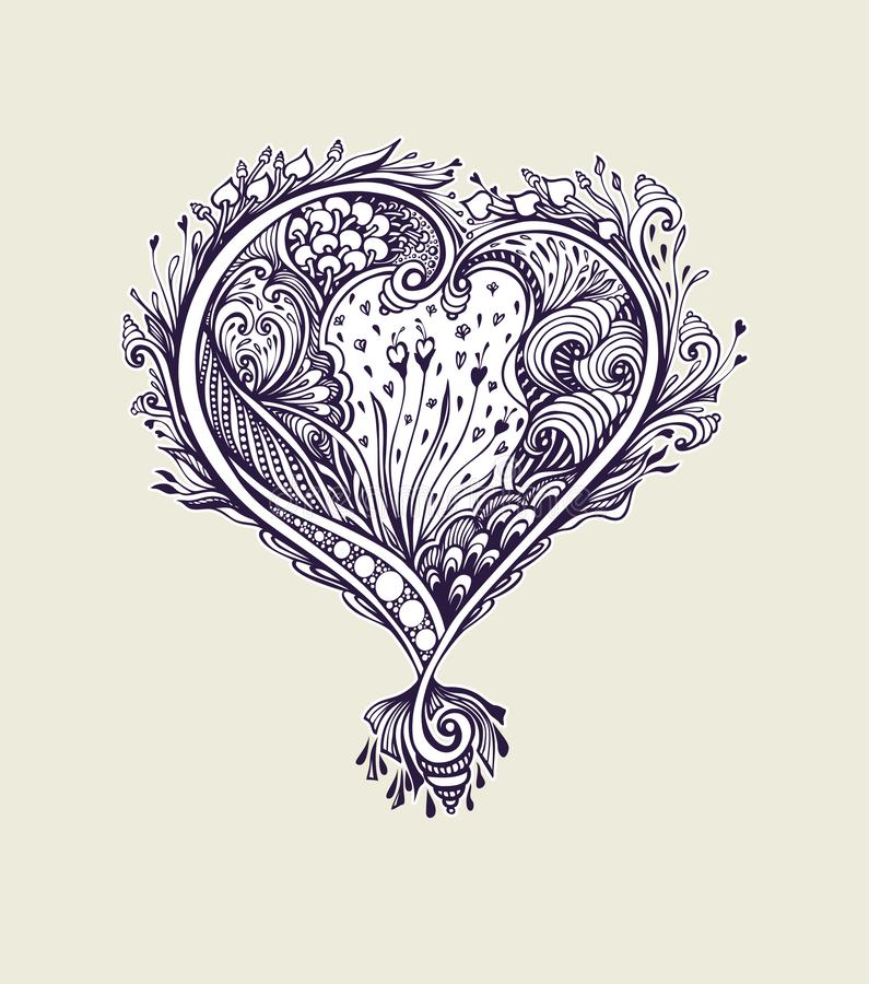 Creative composition with Zen tagle heart in vintage style black and white stock illustration