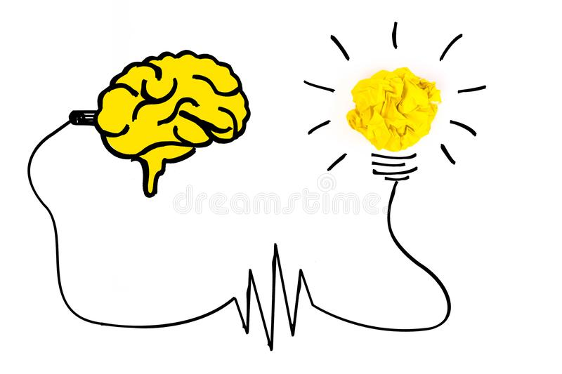 Creative concept. Brain plugged in to produce ideas and a yellow vector illustration
