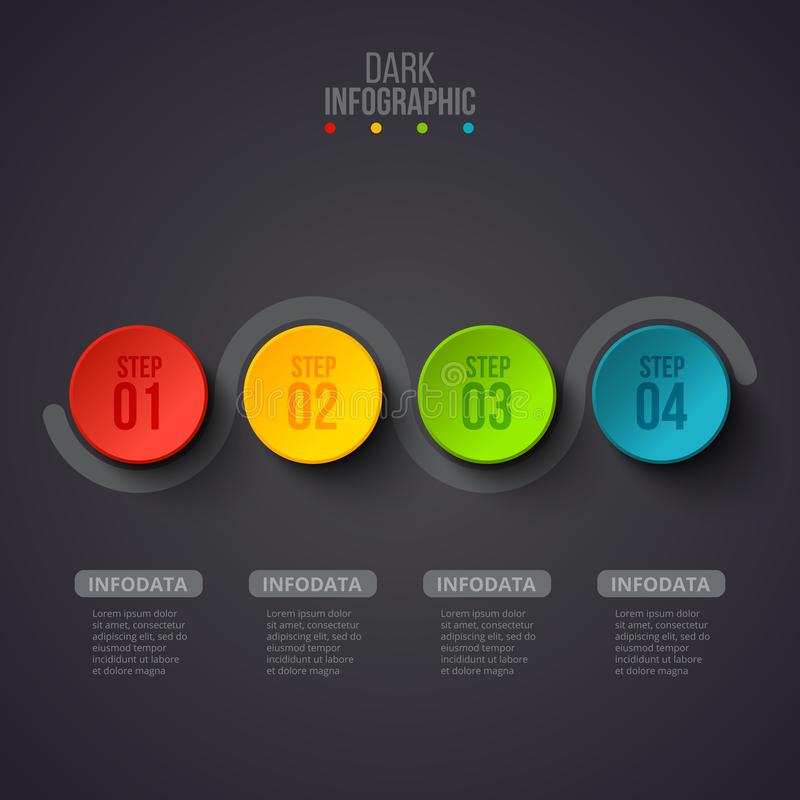 Creative concept for dark infographic. Business data visualization. Abstract circle elements of graph, diagram with 4. Steps, options, parts or processes stock illustration
