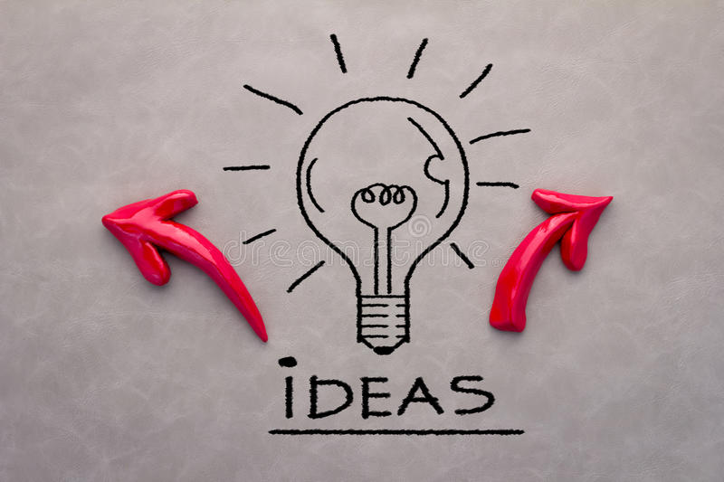 Creative concept with drawing bulb witf arrow royalty free stock photos