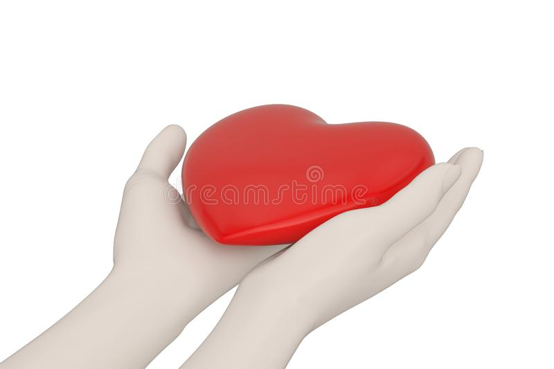 Creative concept hands holding heart  isolated on white background 3D illustration vector illustration