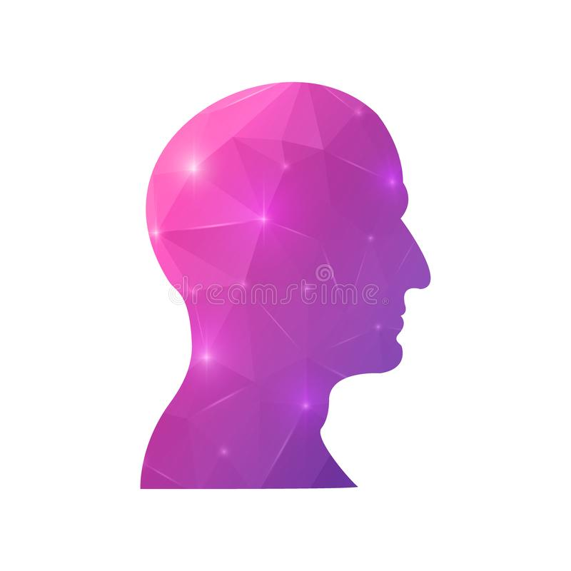 Creative concept head silhouette for Web and Mobile Applications isolated on background. illustration, creative template design,. Business software and social royalty free illustration