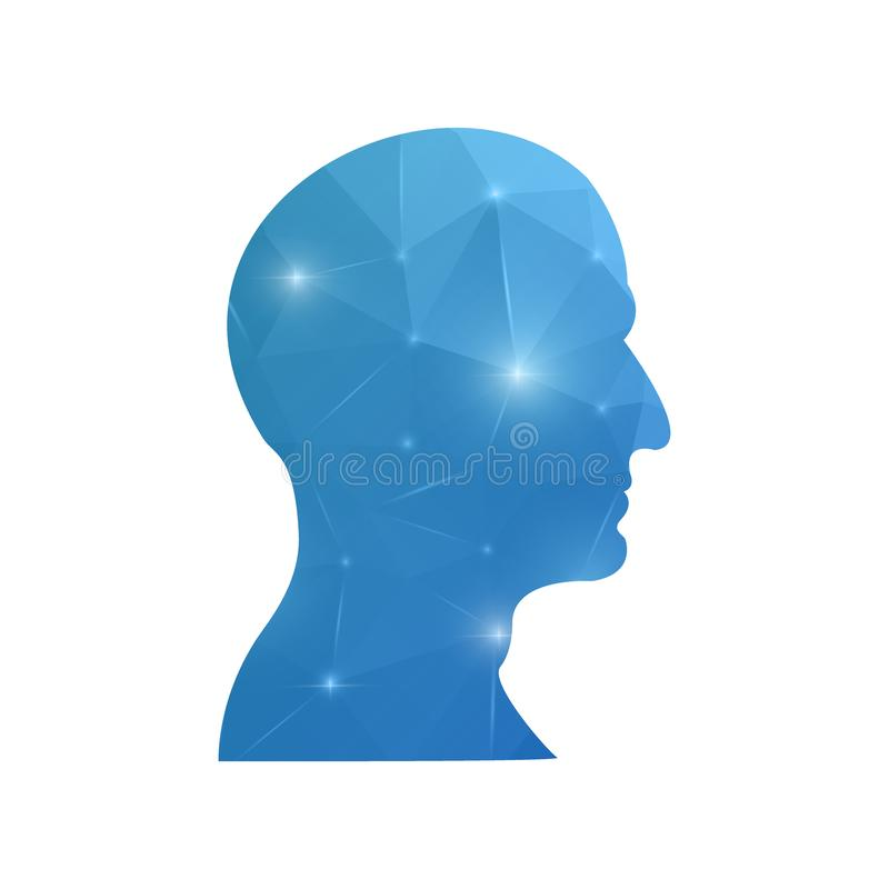 Creative concept head silhouette for Web and Mobile Applications isolated on background. illustration, creative template design,. Business software and social stock illustration