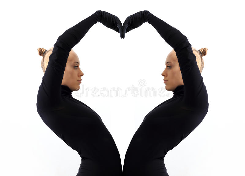 Creative Concept Heart Symbol Of Love Fromed By Two Female Bodies