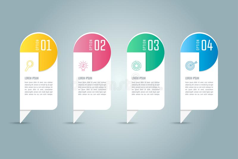 Creative concept for infographic with 4 options, parts or proces. Ses. Timeline infographic business design and marketing icons for presentation, annual report vector illustration
