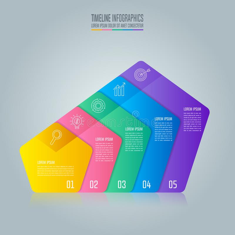 Creative concept for infographic with 5 options, parts or proces. Ses. Timeline infographic business design and marketing icons for presentation, annual report royalty free illustration