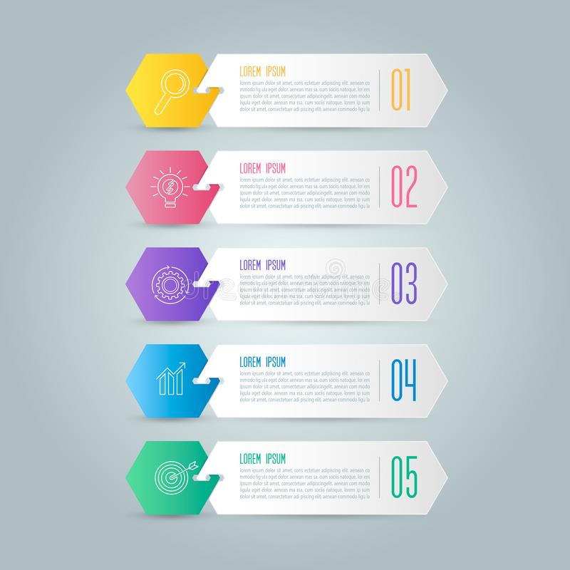Creative concept for infographic with 5 options, parts or proces. Ses. Timeline infographic business design and marketing icons for presentation, annual report stock illustration
