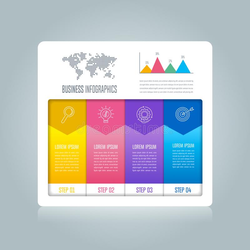 Creative concept for infographic with 4 options, parts or proces. Ses. Timeline infographic business design and marketing icons for presentation, annual report stock illustration