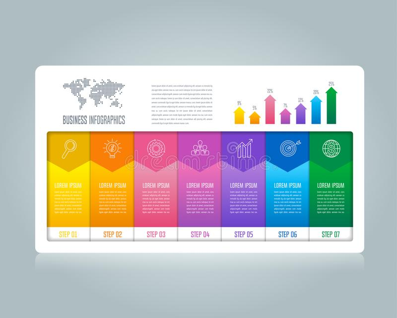 Creative concept for infographic with 7 options, parts or proces. Ses. Timeline infographic business design and marketing icons for presentation, annual report vector illustration