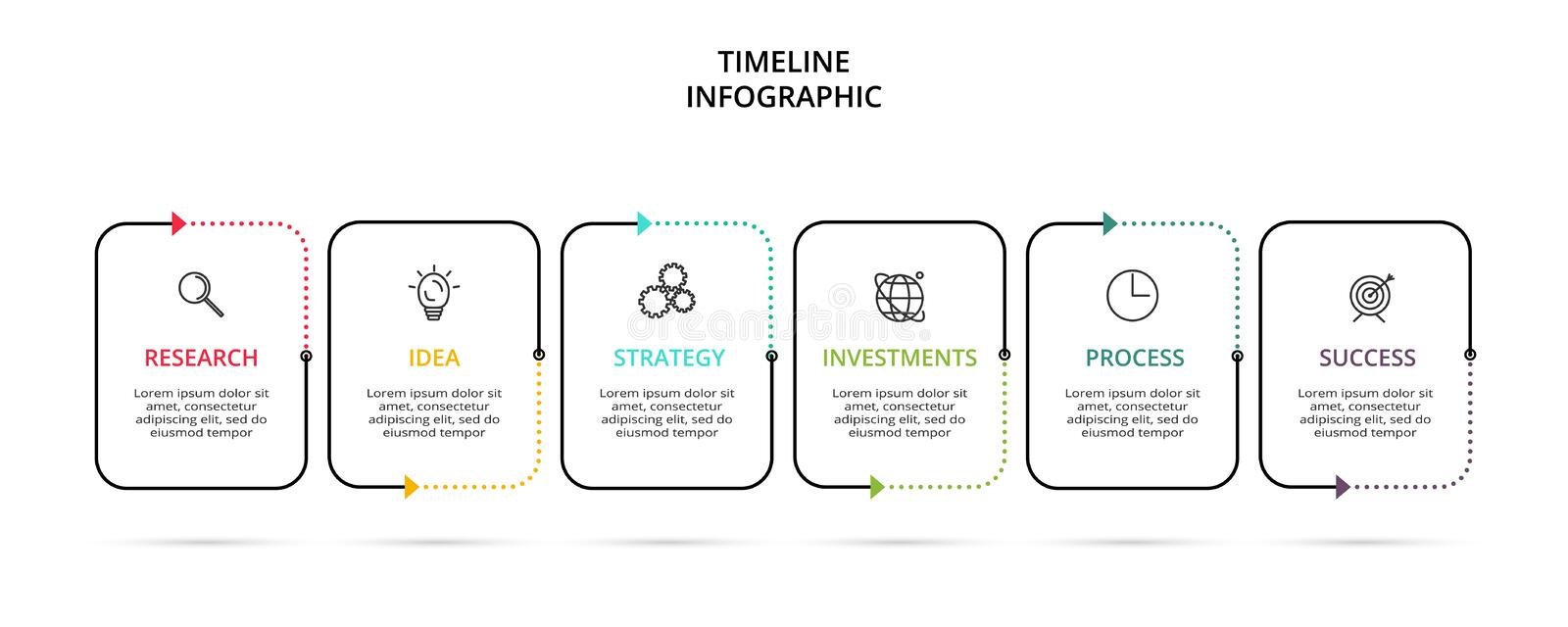Creative concept for infographic with 6 steps, options, parts or processes. Business data visualization. Vector business template vector illustration