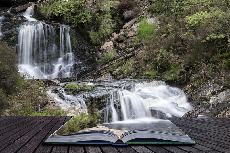 Creative concept pages of book Rhiwargor Waterfall landscape in stock photography
