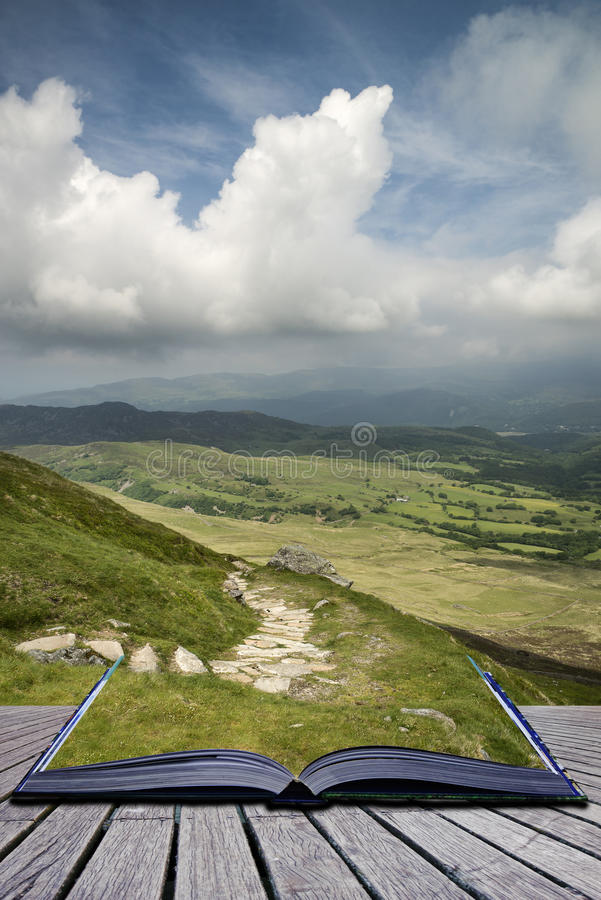 Free Creative Concept Pages Of Book View From Cadair Idris Mountain N Stock Image - 33504251