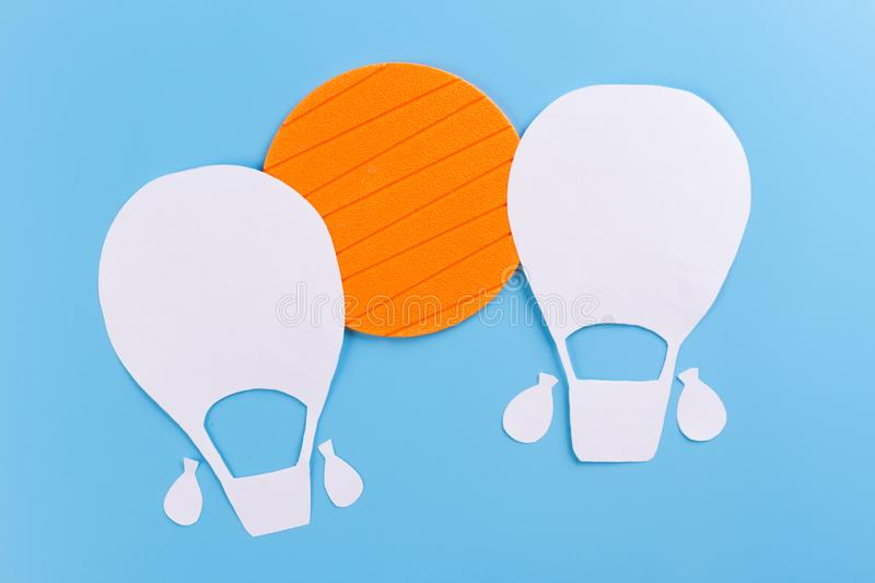 Creative concept photo of aerostat. Made of paper royalty free stock images