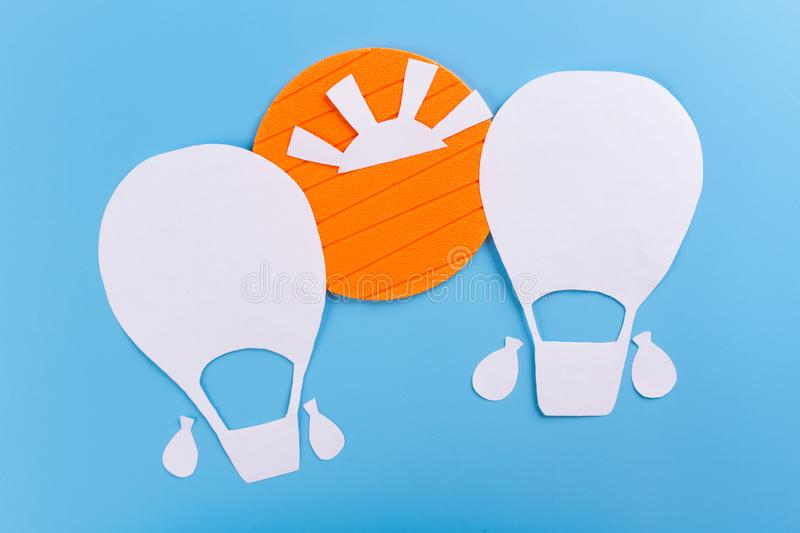 Creative concept photo of aerostat. Made of paper royalty free stock photo