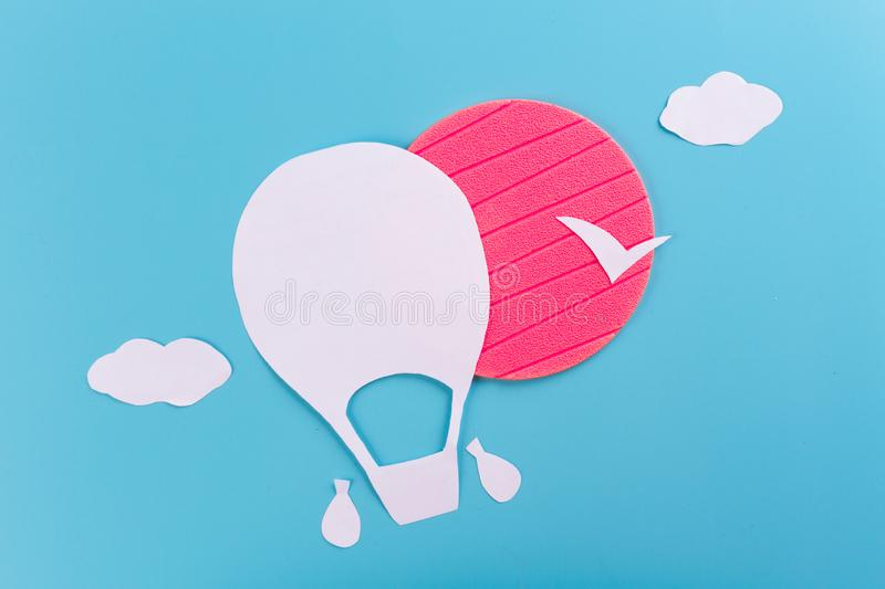 Creative concept photo of aerostat. Made of paper royalty free stock image
