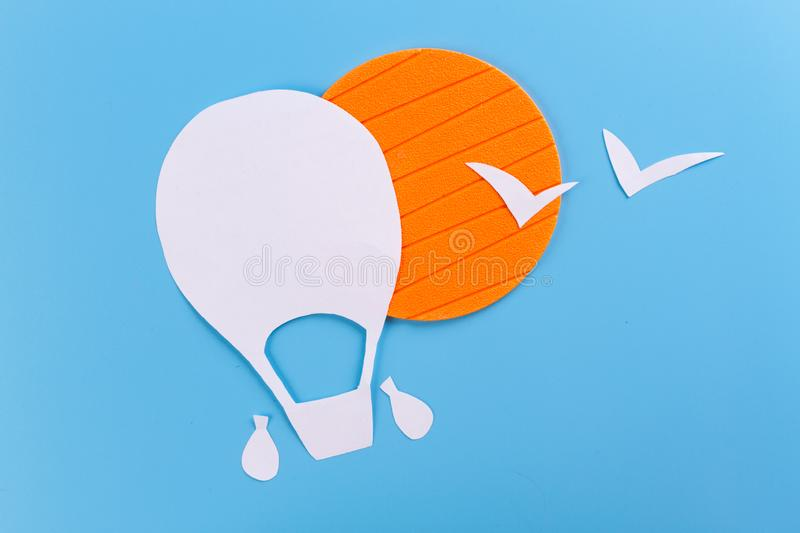 Creative concept photo of aerostat. Made of paper royalty free stock photos