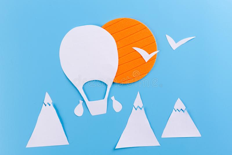 Creative concept photo of aerostat. Made of paper stock images