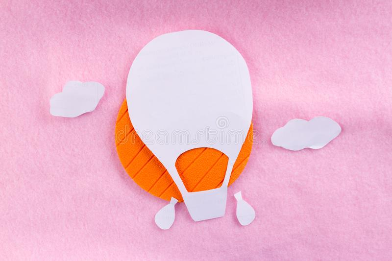 Creative concept photo of aerostat. Made of paper stock image