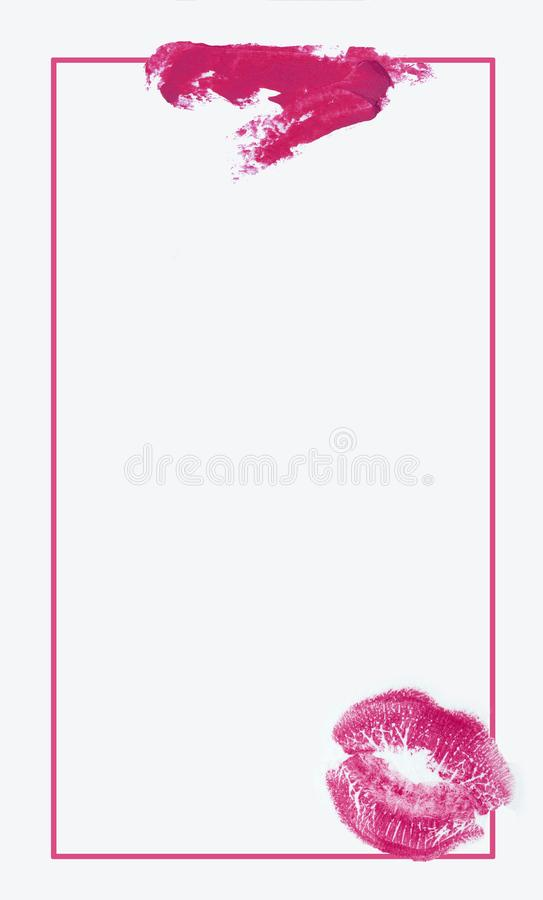 Beauty swatches. Creative concept photo of cosmetics swatches beauty products lipstick on white background royalty free stock photos
