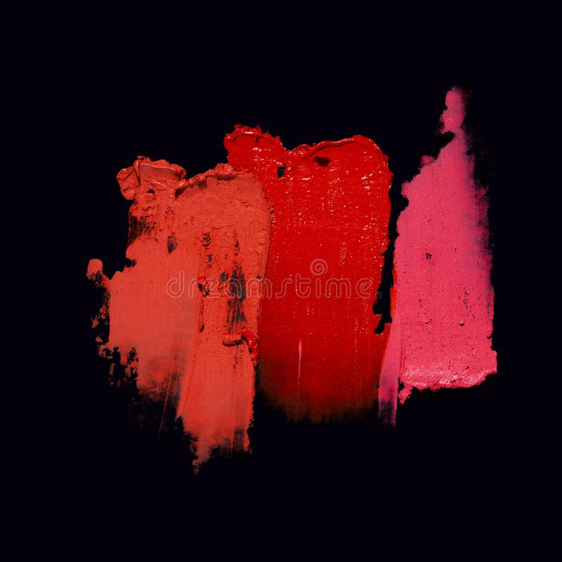 Beauty swatches. Creative concept photo of cosmetics swatches on black background stock photos