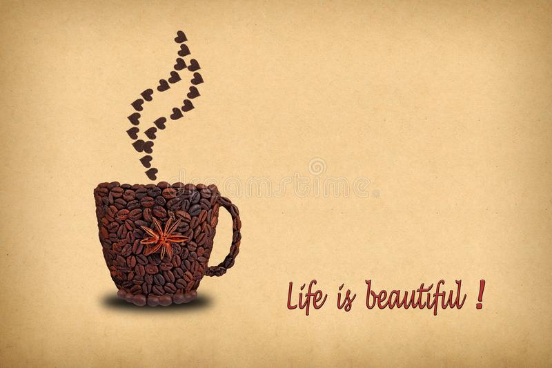 Creative concept photo of a cup of coffee and hearts made of co royalty free stock images