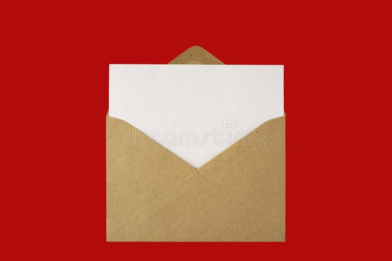 Mail me. Creative concept photo of envelope with paper card list mail post sheet  on red  background royalty free stock images