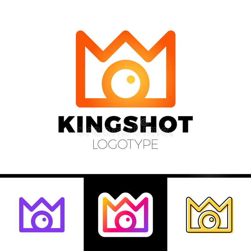 Creative concept for photography studio. Modern logo design layout with camera and crown. Corporate symbol idea. royalty free illustration
