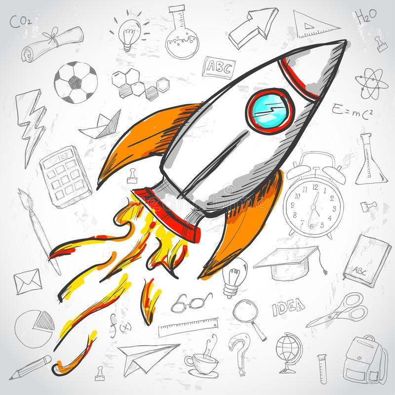 Creative Concept. Rocket Launch Education Doodles Background.  royalty free illustration