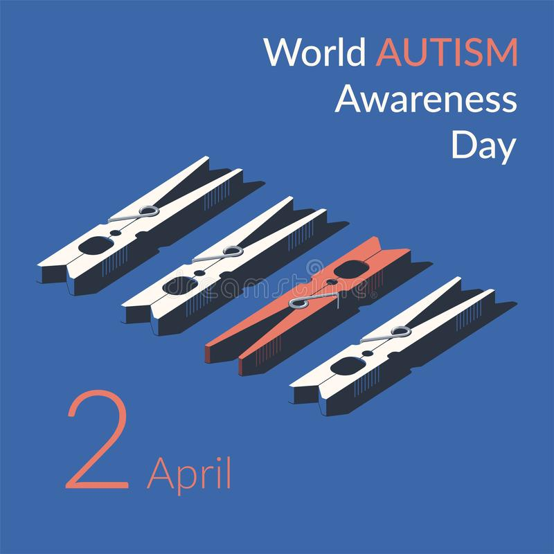 Creative concept vector illustration for World Autism awareness day. Can be used for banners, backgrounds, symbol, badge, icon, sticker, posters, brochures vector illustration