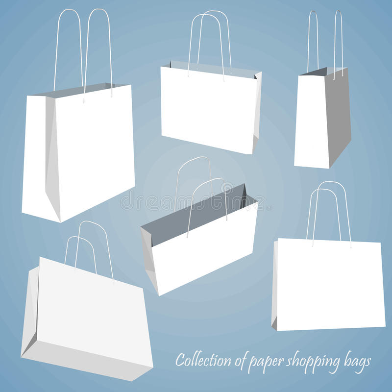 Creative concept vector set of empty shopping bag isolated on white background. Vector illustration creative template stock illustration