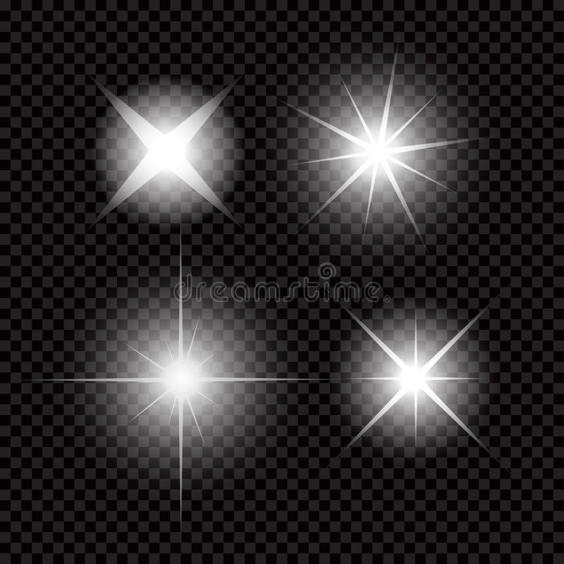 Creative concept Vector set of glow light effect stars bursts with sparkles isolated on black background stock illustration