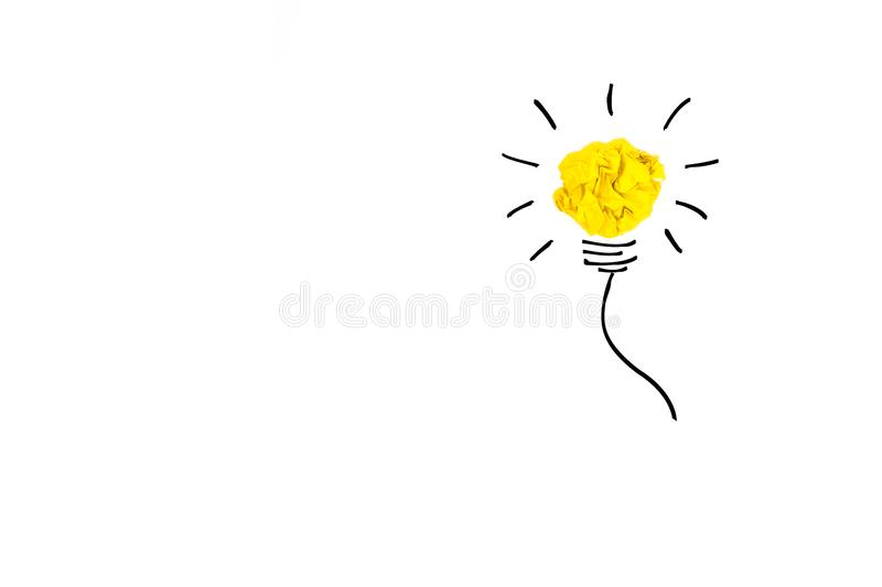 Creative concept. Yellow light bulb made of yellow crumpled, pap vector illustration