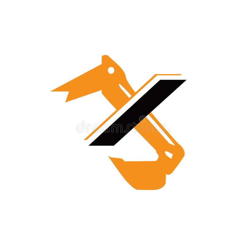 Creative construction machine letter X excavator logo design vector. Backhoe, digger, excavation, illustration, excavating, bulldozer, background, equipment stock illustration
