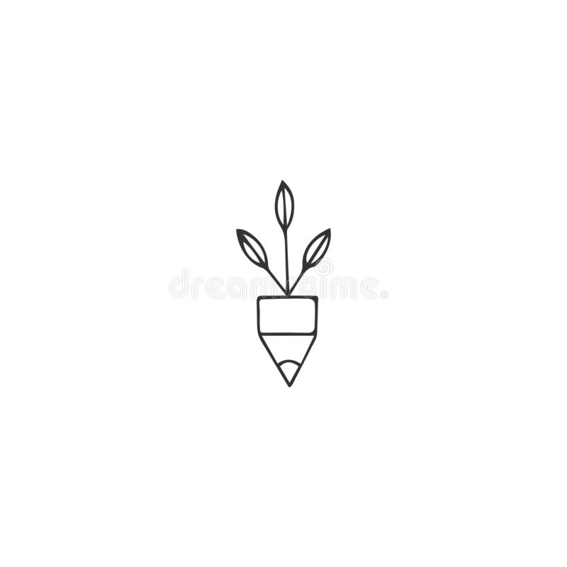 Creative Contest theme. A pencil tip with green shoots, vector hand drawn icon. vector illustration