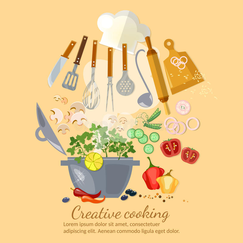 Creative cooking collection cookbook. Vector vector illustration