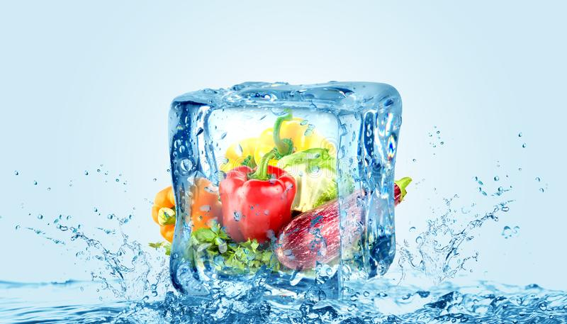 Creative cool ice cube chilled vegetables for cold storage.  royalty free stock photography