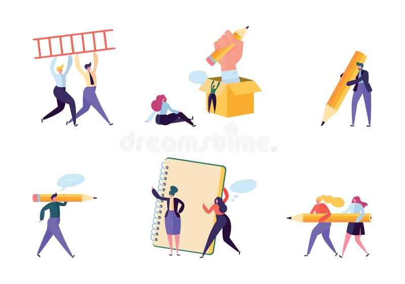 Creative Copywriter People Business Character Set. Writer Team Draw Pencil in Notebook. Hipster Freelancer Employee stock illustration