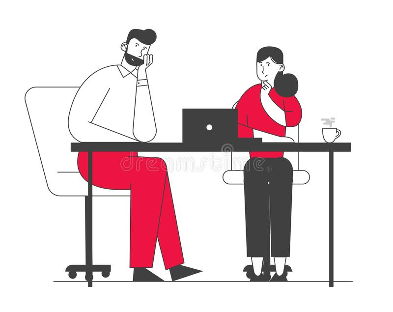 Creative Couple of Collega's Teamwork, Brainstorming Working Process in Office Team voor zakelijke personenkarakters royalty-vrije illustratie