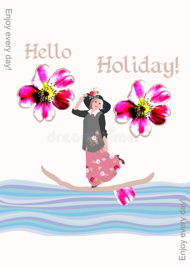 Creative cover of the book with a middle-aged woman floating on a boat on vacation. Enjoy every day!. Creative cover of the book with a middle-aged woman stock illustration