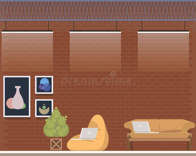 Creative Coworking Center Studio Interior Design royalty free illustration