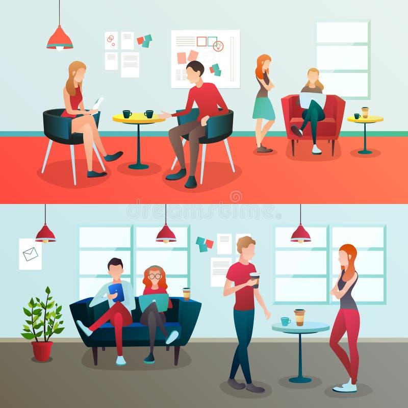 Creative Coworking Interior Composition stock illustration