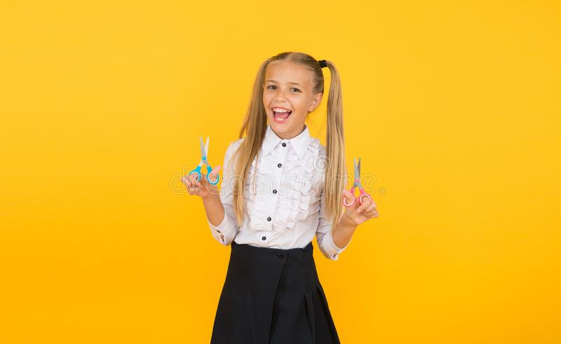 Creative crafts. Develop creativity. Favourite part of going back to school. Tutorials for little hands. Crafts for. Elementary school kids. Schoolgirl hold stock photo