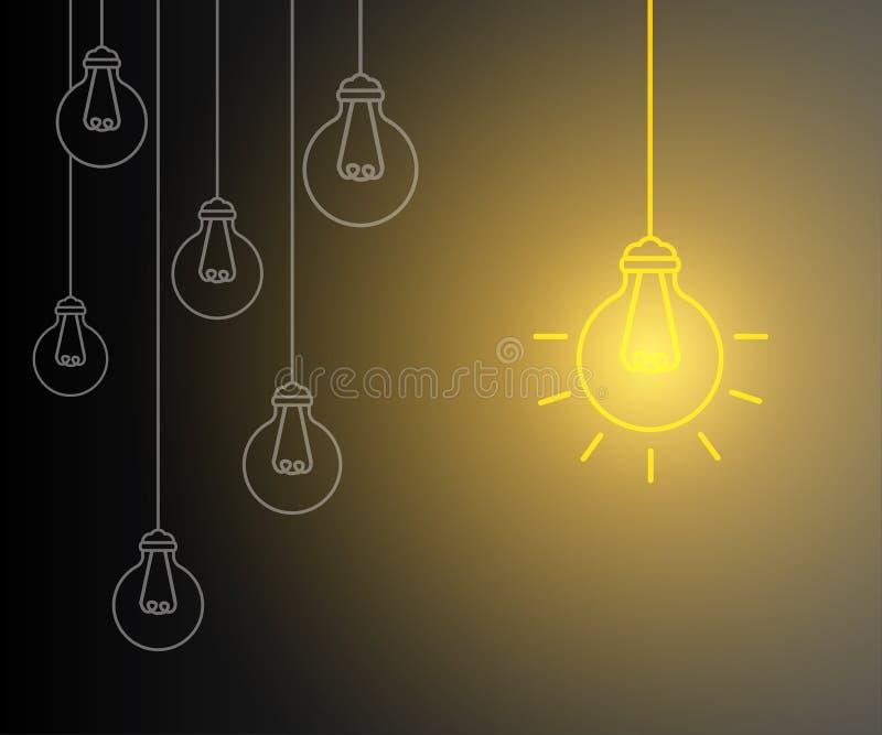 Creative creation ideas bulb, new business idea royalty free illustration