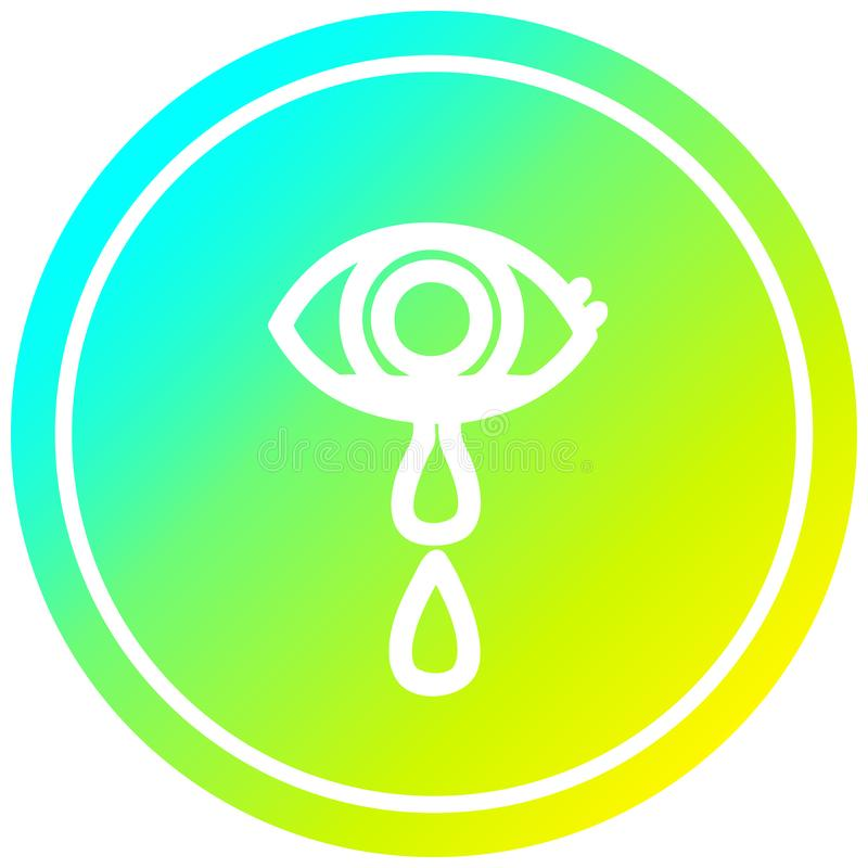 A creative crying eye circular in cold gradient spectrum. An original creative crying eye circular in cold gradient spectrum vector illustration