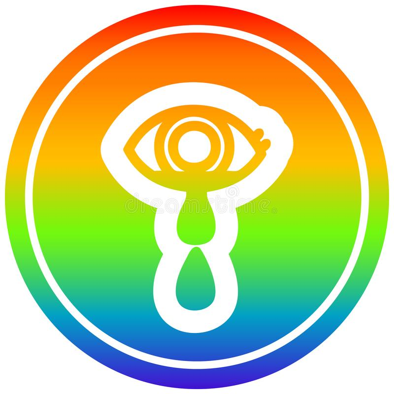 A creative crying eye circular in rainbow spectrum. An original creative crying eye circular in rainbow spectrum vector illustration