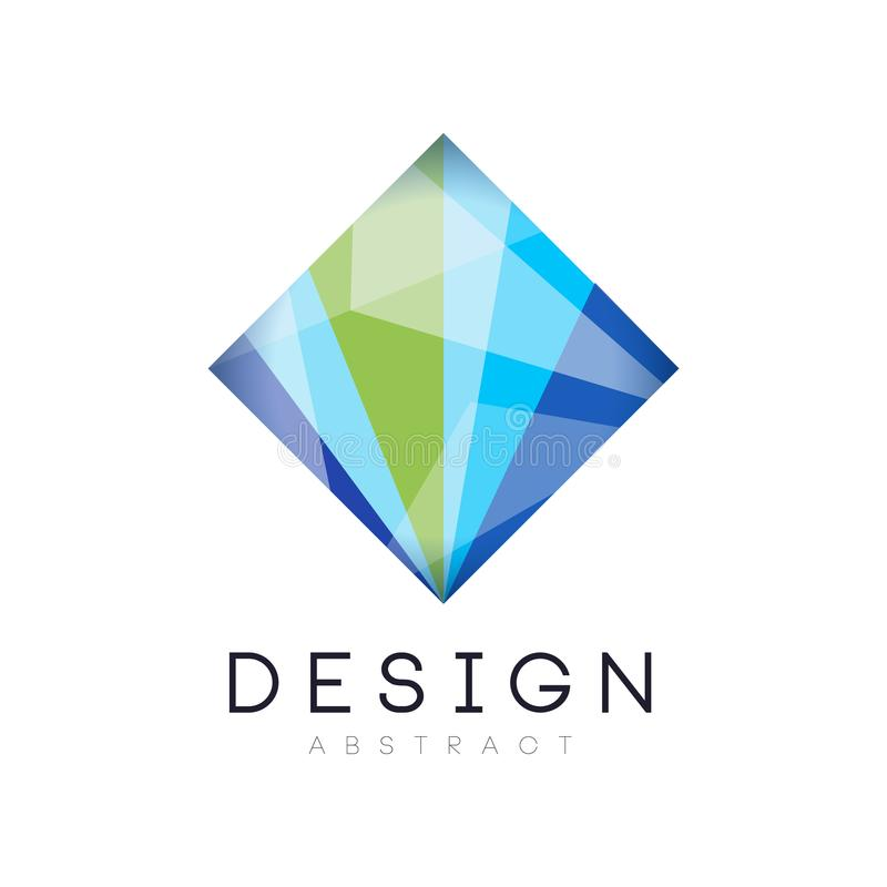 Creative crystal logo template. Diamond-shaped icon in gradient blue and green colors. Abstract vector design for stock illustration