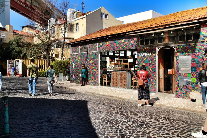 Creative and cultural area in Lisbon. Lisbon, Portugal- March 16, 2019: Creative and cultural area in Lisbon called LX factory where tourists enjoy of royalty free stock photos