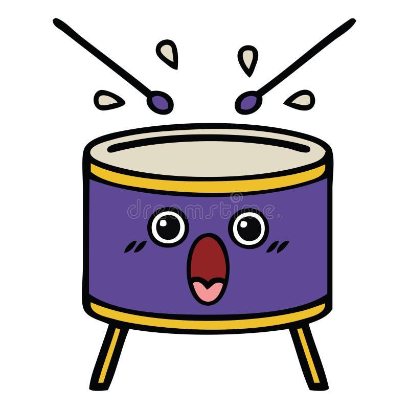 A creative cute cartoon drum vector illustration