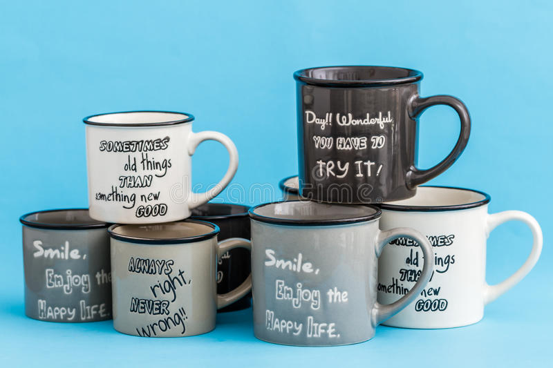 Download Creative, Cute Coffee Mugs On Blue Background Stock Image - Image: 83711247