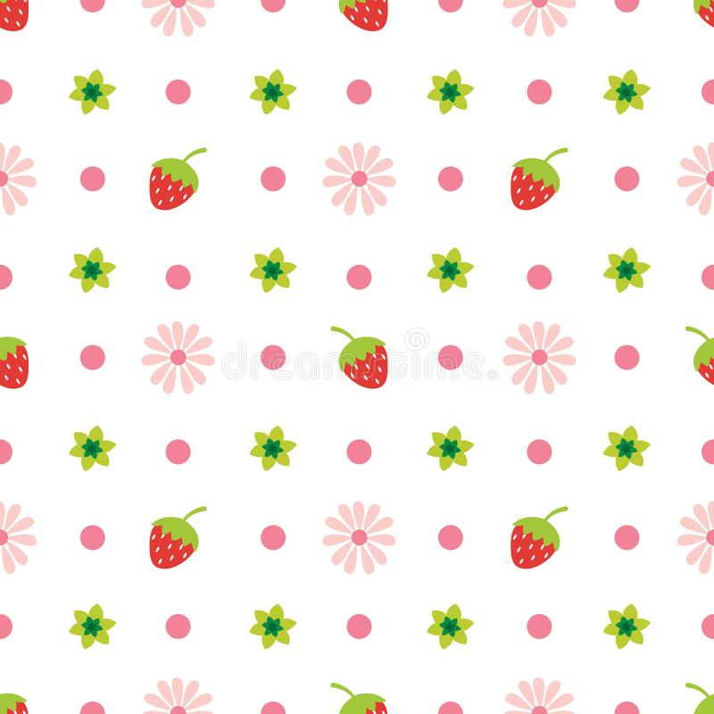 Creative Cute fruit and flower vector pattern. Really cute cartoon fruit and flowers seamless pattern vector illustration vector illustration